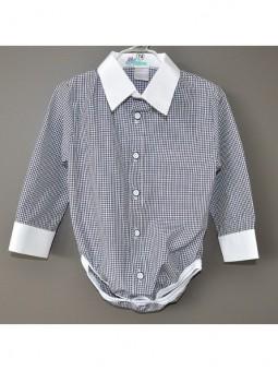 Mėlyni languoti marškiniai-smėlinukas