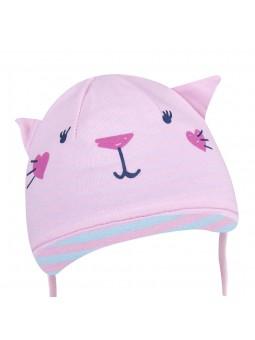 Rausva trikotažinė kepurė
