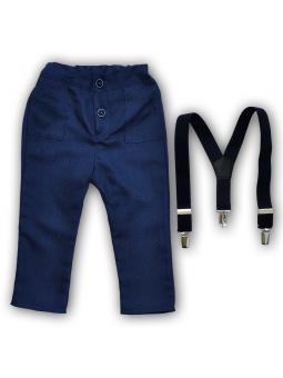 Mėlynos kelnės su petnešomis