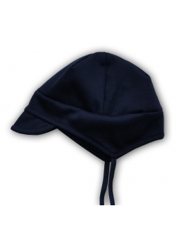 Navy blue cotton baby cap