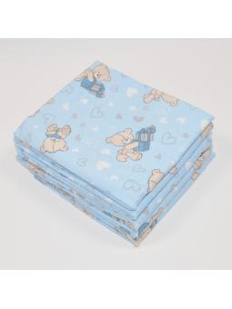 Flannel diaper LOVE BEAR blue