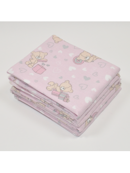 Flannel diaper LOVE BEAR pink