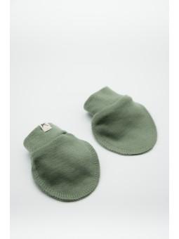 Merino wool baby gloves olive