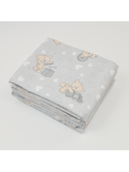 Flannel diaper LOVE BEAR grey