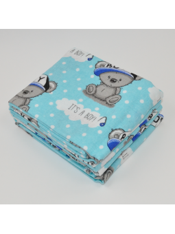 Flannel diaper BEAR BOY blue