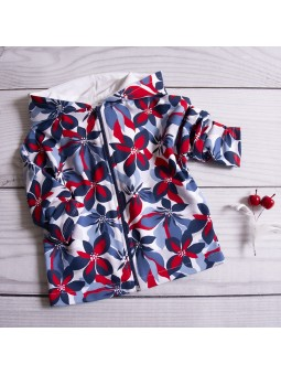 Flowered girls hoodie red