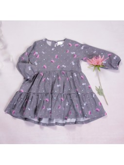 Girls flowered dress grey