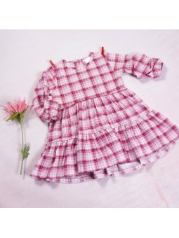 Girls checkered pink dress