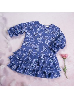 Girls dress flowered blue