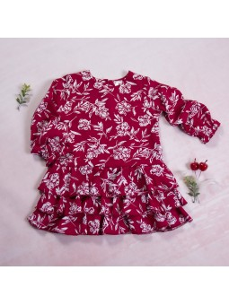 Girls dress flowered burgundy