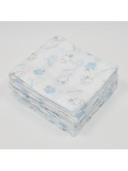 Muslin diaper MEOW blue...