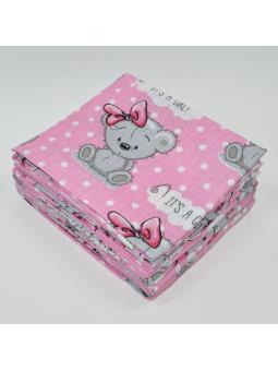 Muslin diaper BEAR pink...