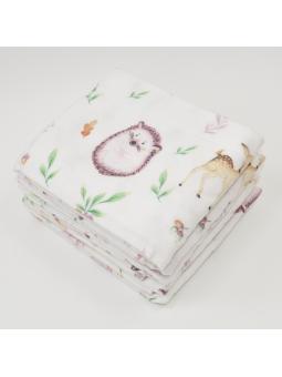 Flannel diaper HEDGEHOGS white