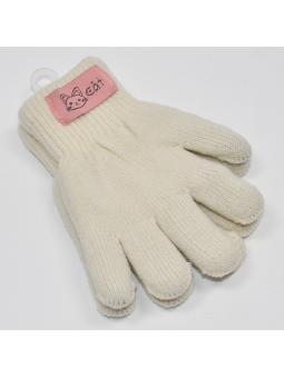 Double kids gloves ecru