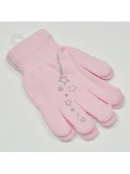 Girls gloves STAR pink