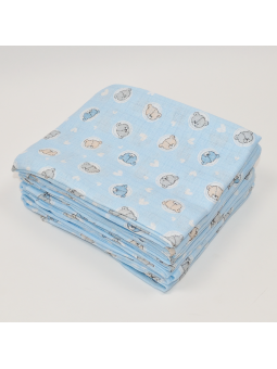 Muslin diaper BEAR blue...