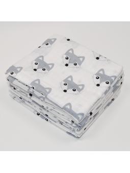 Muslin diaper FOX grey 70x80cm