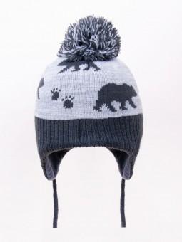 Winter baby cap BEAR grey