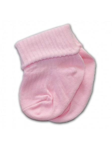 Rausvos kojinės su atvartėliu