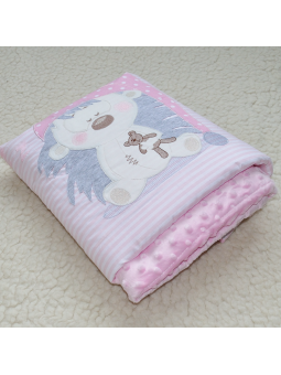 Baby blanket HEDGEHOG pink